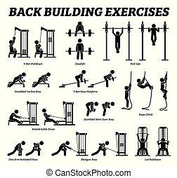 gebouw, figuur, back, pictograms., stok, oefeningen, muscle