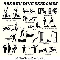 gebouw, figuur, buik, pictograms., abs, stok, muscle, oefening