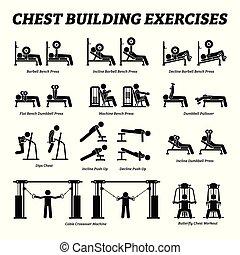 gebouw, figuur, pictograms., borst, stok, oefeningen, muscle