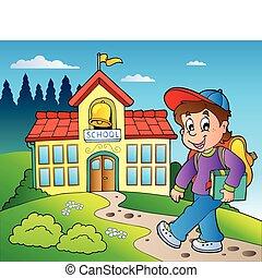gebouw, jongen, school, thema
