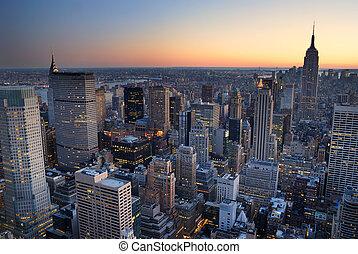 gebouw, stad, with., luchtopnames, panorama, skyline, staat, ondergaande zon , york, nieuw, keizerrijk, manhattan, aanzicht