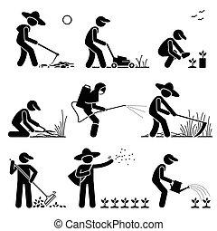 gebruik, gereedschap, tuinman, farmer