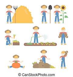 gebruiken, set, landbouwers, hoedje, anders, gardeners, landbouwkundig, maniertjes, gereedschap