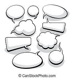 gedachte, toespraak, bellen, (vector)