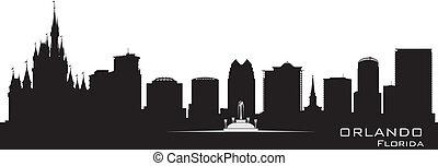gedetailleerd, stad, silhouette, orlando, florida, skyline.