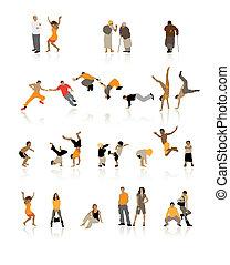 gedetailleerd, stellen, ouderdom, jonge, silhouettes, tieners, plezier, kinderen, sportende, people: