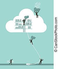 gegevensverwerking, wolk, concept, zakelijk