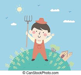 geitje, boerderij, jongen, farmer, illustratie