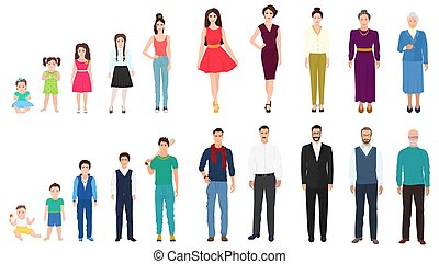 geitje, het verouderen, anders, concept, oude mensen, leeftijd, person., age., vrouwlijk, mannelijke , kindertijd, generaties, old.