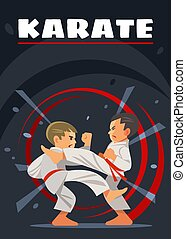 geitjes, karate, poster., sports.