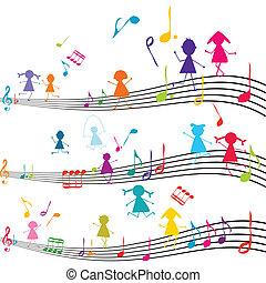 geitjes, opmerkingen, spelend, aantekening, muziek, muzikalisch