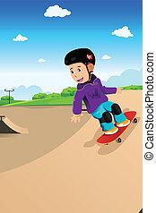 geitjes, skateboard, spelend
