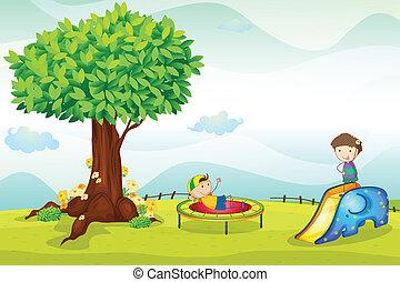 geitjes, spelend, natuur