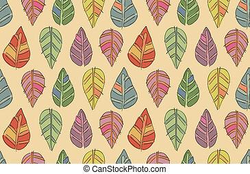 gekke , blad, seamless, textuur, herfst, vector