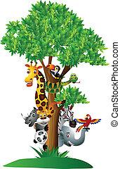 gekke , gevarieerd, spotprent, safari, dier
