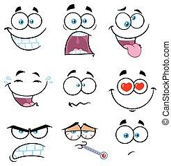 gekke , set, verzameling, gezicht, 2., uitdrukking, spotprent