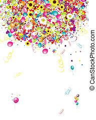 gekke , vakantie, ontwerp, achtergrond, ballons, jouw, vrolijke