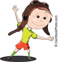 gekke , vector, helm, jongen, illustratie, achtergrond, witte , spotprent