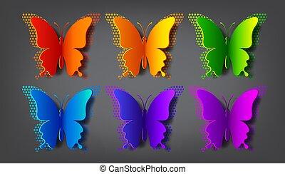gekleurde, vector, schaduw, vlinder, halftone, papier
