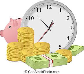 geld, concept, tijd