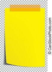gele achtergrond, papier, transparant, pagina, shadow.