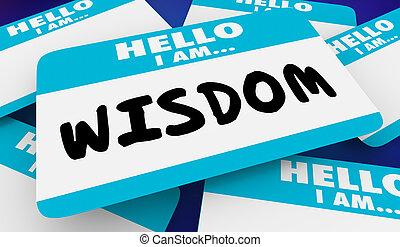 geleerd, naam, intelligentie, illustratie, wijsheid, label, hallo, 3d