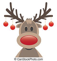 gelul, kerstmis, neus, rood, rendier