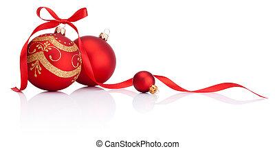 gelul, vrijstaand, boog, versiering, lint, achtergrond, witte kerst, rood