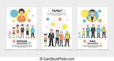 generatie, plat, mensen, affiches