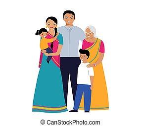 generaties, indiër, nationale, kleren, traditionele , family., drie, set, mensen