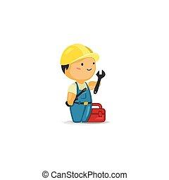gereedschap, arbeider, onderhoud