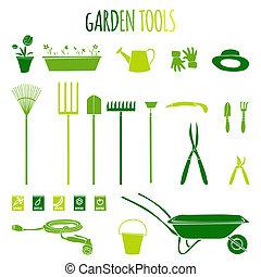 gereedschap, iconen, tuin, set
