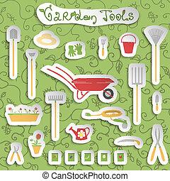 gereedschap, set, stickers, tuin