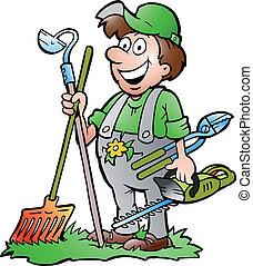 gereedschap, staand, tuinman