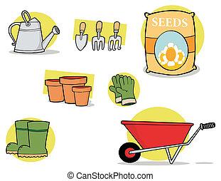 gereedschap, tuin, collage