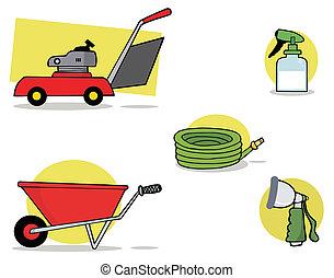 gereedschap, tuinieren, digitale , collage