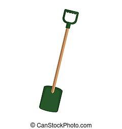 gereedschap, tuinieren, illustratie, schop, handle., groene, houten