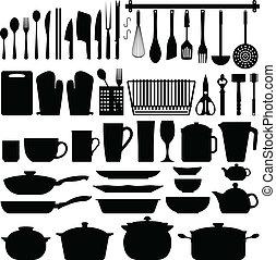 gereedschap, vector, silhouette, keuken