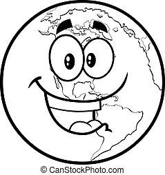 geschetste, karakter, vrolijke , globe, spotprent, aarde