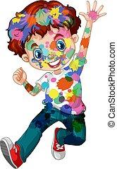 gespetter, jongen, vrolijke , zijn, watercolor, lichaam