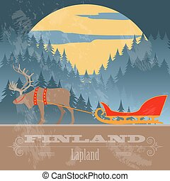 gestyleerd, finland, landmarks., retro