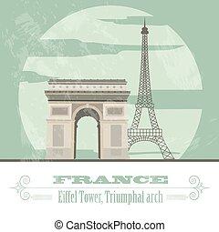 gestyleerd, frankrijk, landmarks., retro