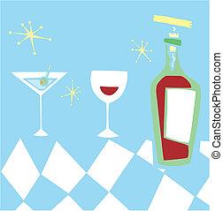 gestyleerd, retro, dranken
