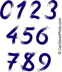 getallen, borstel, vector, strokes., stylized, set