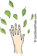 getrokken, menselijke hand