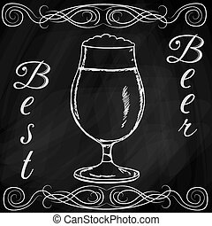 getrokken, schets, bier, hand