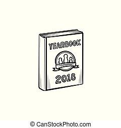 getrokken, schets, jaarboek, icon., hand