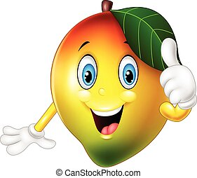 geven, mango, beduimelt omhoog, spotprent