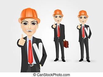 geven, mannelijke , op, ingenieur, duimen