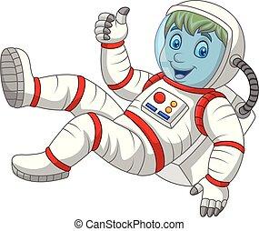 geven, ruimtevaarder, op, duimen, spotprent